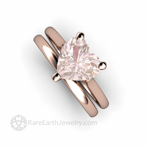 Heart Cut Morganite Wedding Set Solitaire and wedding band in rose gold handmade by Rare Earth Jewelry