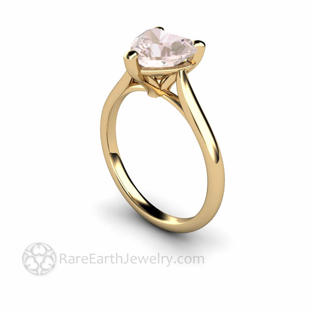 Morganite Ring Heart Cut Solitaire Engagement or Promise Ring
