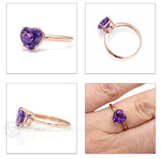 Rare Earth Jewelry Purple Heart Amethyst Promise or Anniversary Ring 14K Gold