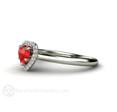 Red Sapphire Diamond Halo Promise Ring Rare Earth Jewelry