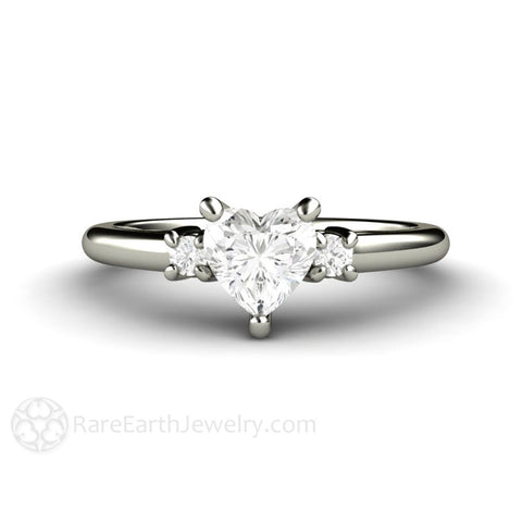 Heart Diamond 3 Stone Engagement Ring or Promise Ring