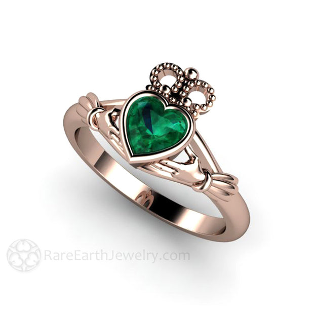 Emerald Claddagh May Birthstone or Promise Ring 14K Rose Gold Rare Earth Jewelry