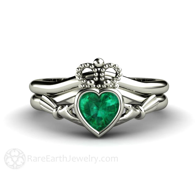 Green Emerald Heart Claddagh Engagement Ring and Wedding Band Set 14K White Gold Rare Earth Jewelry