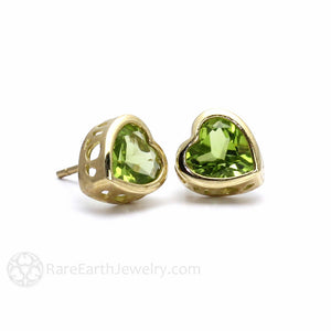 Rare Earth Jewelry Heart Peridot Earrings Vintage Style Filigree Bezel Set