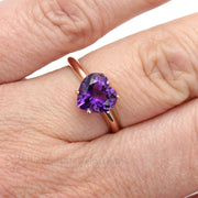 Rare Earth Jewelry Heart Cut Purple Amethyst Ring on Finger