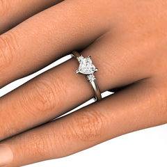 Heart Solitaire Diamond Ring GIA Conflict Free 14K or 18K Rare Earth Jewelry