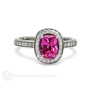 Rare Earth Jewelry Hot Pink Sapphire Ring Cushion Pink Engagement with Diamond Accent Stones 14K Gold