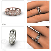 Rare Earth Jewelry Stackable Band Stacking Ring XO Hug and Kiss Design