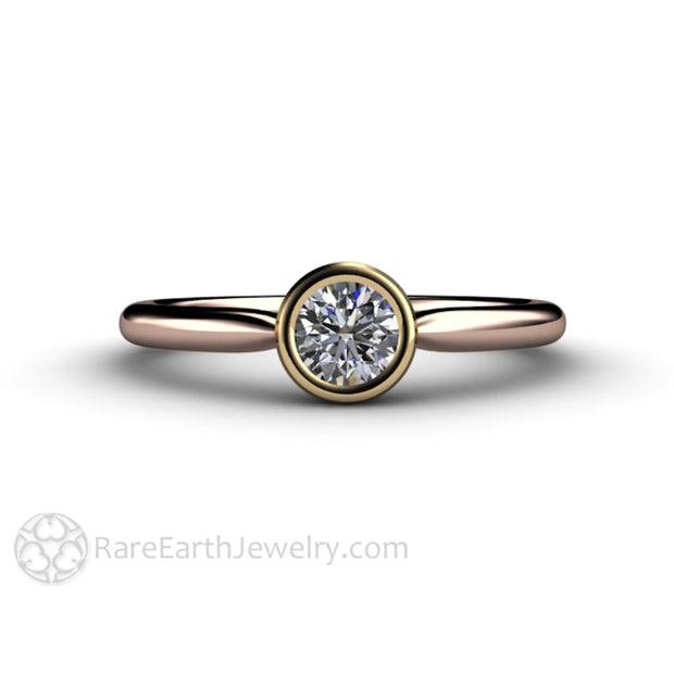 Inexpensive Diamond Promise Ring GIA Certified .30 Carat Rose and Yellow Gold Bezel Rare Earth Jewelry