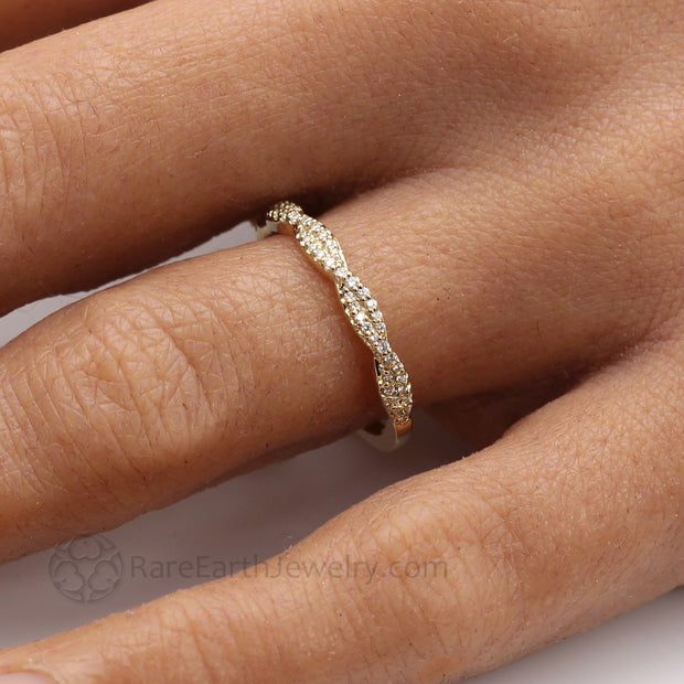 Infinity Style Diamond Wedding Band in Yellow Gold on the finger Double Twisted Rope Design Thin Pave Diamond Ring rareearthjewelry.com