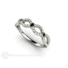 Infinity Diamond Bridal Ring Round Cut Black and White Diamonds Rare Earth Jewelry