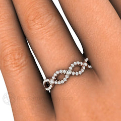Diamond Infinity Right Hand Ring on Finger Rare Earth Jewelry