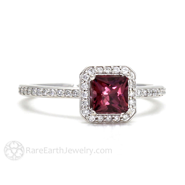 Rare Earth Jewelry Natural Rhodolite Garnet and Diamond Ring Princess Cut January Birthstone 14K Gold