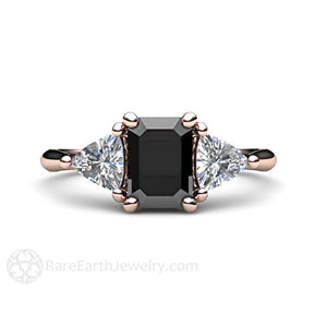 Black and White Diamond Engagement Ring rareearthjewelry.com