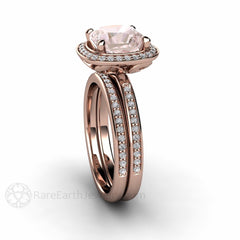 Rare Earth Jewelry Rose Gold Morganite Halo Wedding Bridal Set 8mm Cushion