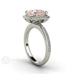 Rare Earth Jewelry Cushion Solitaire Morganite Ring with Diamond Halo White Gold Setting