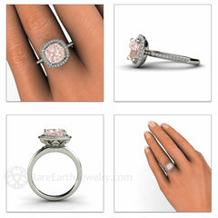Rare Earth Jewelry Cushion Morganite Halo Engagement Ring on Finger