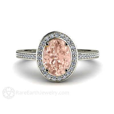 Morganite Halo Ring rareearthjewelry.com