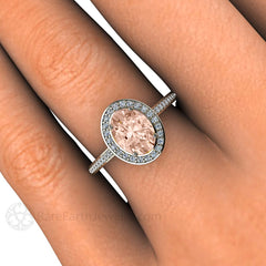 Morganite Ring Oval Diamond Halo Engagement Ring