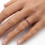 Lab Created Ruby Ring Wedding Band Stacking Ring on the hand