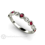July Birthstone Ring Round Cut Ruby with Diamonds 14K White Gold Rare Earth Jewelry