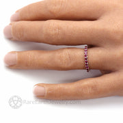 July Birthstone Wedding Ring Ruby Anniversary Band Red Stone Ring Hand Photo