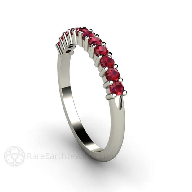 Ruby Anniversary Band July Birthstone Ring in White Gold