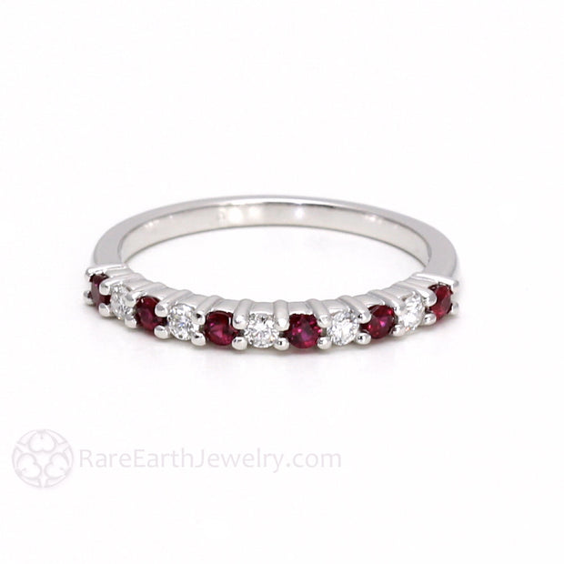 Rare Earth Jewelry Ruby and Diamond Stacking Ring or Anniversary Band 14K or 18K Gold