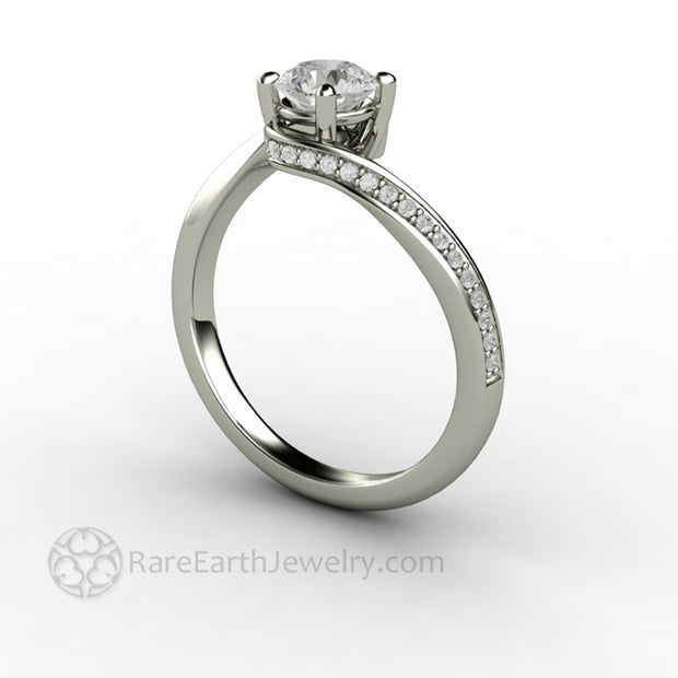Lab Created Diamond Engagement Ring Eco Friendly Alternative by Rare Earth Jewelry