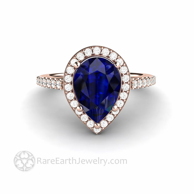 Blue Sapphire 14K Rose Gold Halo Engagement Ring Teardrop Shape Stone