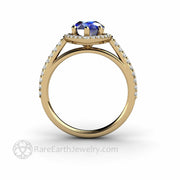 Lab Created Blue Sapphire Ring Teardrop Shap Halo Style