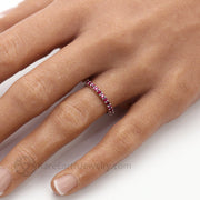 July Birthstone Ring Red Stone Stackable Band Ruby Band on the Finger