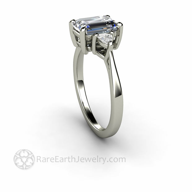Lab Diamond Engagement Ring with Emerald Cut Gray Moissanite in White Gold 3 Stone Mounting