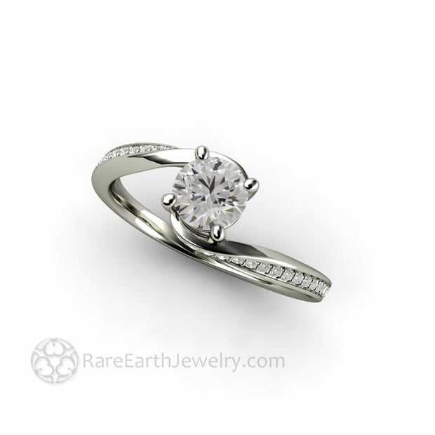 Half Carat Synthetic Diamond Engagement Ring 4 Prong Solitaire in White Gold by Rare Earth Jewelry
