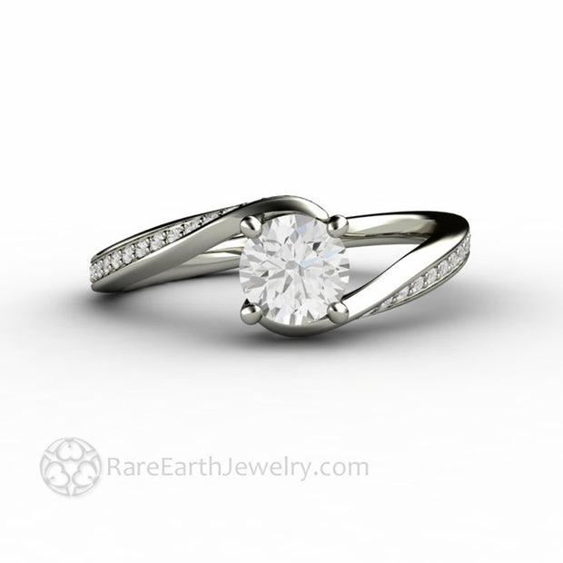 Lab Grown Diamond Solitaire Engagement Ring Half Carat Bypass Setting by Rare Earth Jewelry