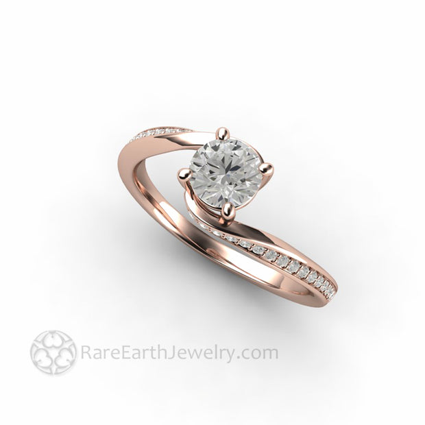 Lab Grown Diamond Solitaire in 18K Rose Gold Round Four Prong Mounting by Rare Earth Jewelry