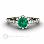Vintage Inspired Emerald Engagement Ring with Diamond Halo and Dainty Scalloped Band
