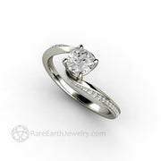 Lab grown Diamond Bypass Solitaire Ethical Engagement Ring Affordable .5 carat by Rare Earth Jewelry