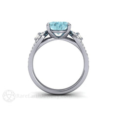 Oval Aquamarine 3 Stone Ring 14K White Gold Rare Earth Jewelry