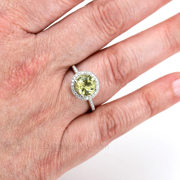 Lemon Citrine Ring on Finger November Birthstone Rare Earth Jewelry