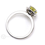 Round Cut Yellow Citrine Halo Ring Rare Earth Jewelry