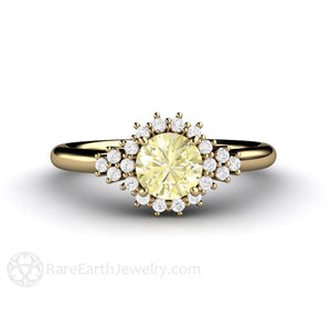 Rare Earth Jewelry Yellow Sapphire Diamond Ring Vintage Style