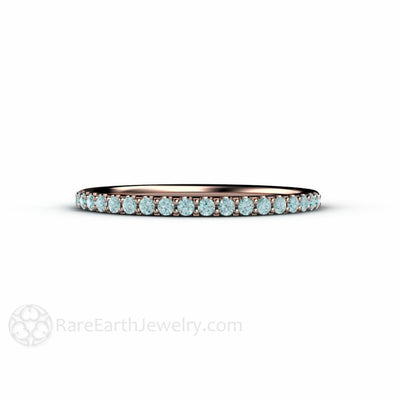 Rare Earth Jewelry Petite Skinny Blue Diamond Stacking Bridal Band 14K