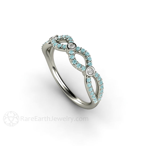 Infinity Blue Diamond Stacking Ring Rare Earth Jewelry