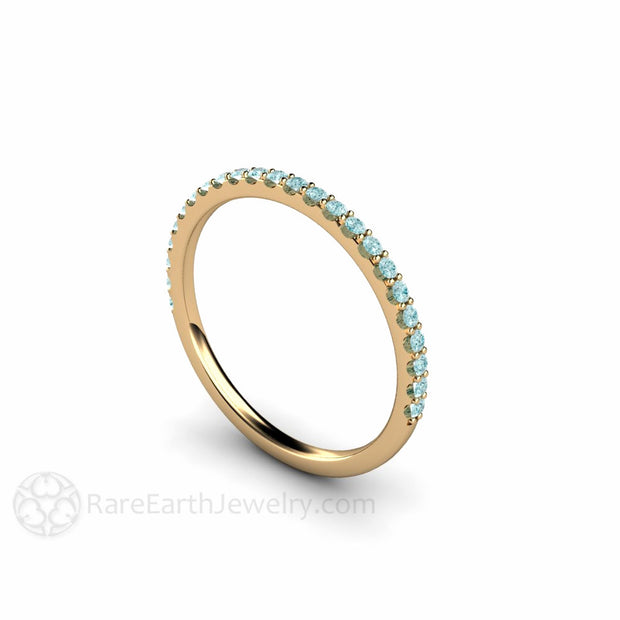 14K Light Blue Diamond Stacking Ring Rare Earth Jewelry