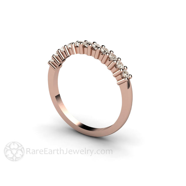 14K Rose Gold Light Brown Diamond Stacking Ring or Stackable Band Rare Earth Jewelry