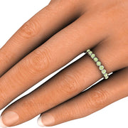 Light Green Diamond Ring Round Cut Bezel Set on Finger Rare Earth Jewelry