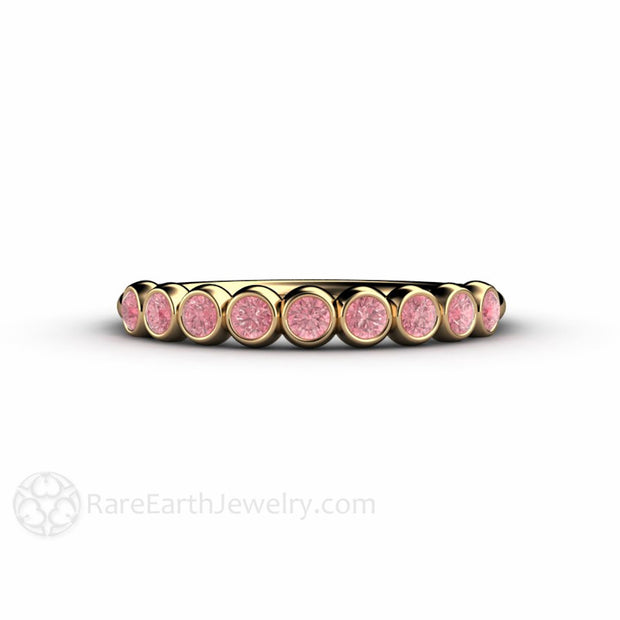 14K Pink Diamond Stacking Ring Stackable Band Rare Earth Jewelry