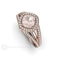 Rose Gold Halo Pink Cushion Sapphire Wedding Ring with Diamonds Rare Earth Jewelry
