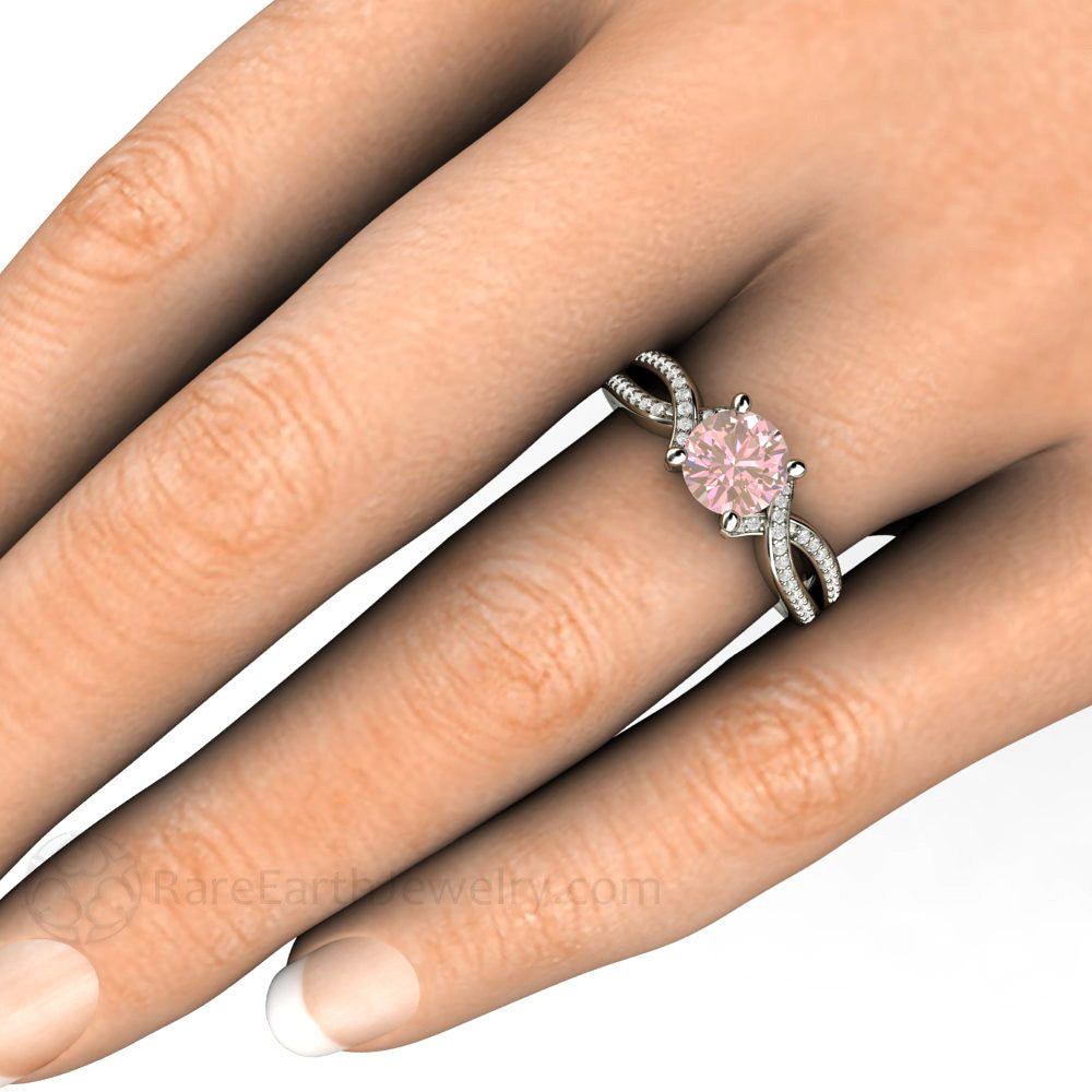Pink Sapphire Infinity Right Hand Ring On Finger Rare Earth Jewelry